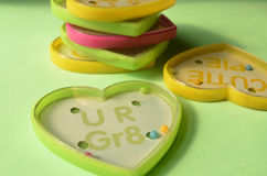 Игры шарика игрушки формы сердца пластичные с текстом Стоковые Фото