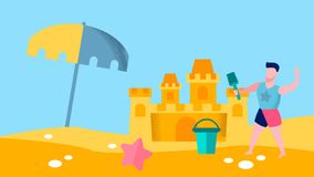 Игры Seashore для иллюстрации вектора мальчика плоской иллюстрация штока