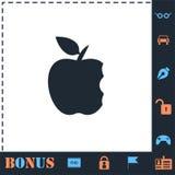 Значок яблока укуса плоско бесплатная иллюстрация