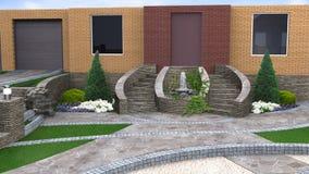 Идеи дизайна обслуживания и засаживать растительности, 3d представляют Стоковое Фото