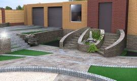 Идеи дизайна обслуживания и waterworks, 3d представляют Стоковые Фото