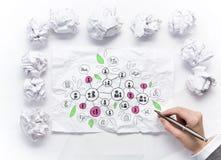 Идеи женщины делая эскиз к на бумажном листе стоковое фото rf