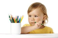 идеи зеленого цвета crayon ребенка укусов думают Стоковые Изображения