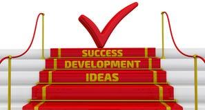 Идеи, развитие, успех Надпись на шагах Стоковые Изображения