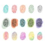 Идентичность снятия отпечатков пальцев вектора отпечатка пальцев с комплектом иллюстрации идентификации кончика пальца печати или Стоковая Фотография RF
