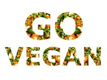 Идет плакат стиля коллажа vegan воспитательный Стоковая Фотография