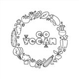 идет vegan Линейные овощи значков также вектор иллюстрации притяжки corel Стоковые Фотографии RF