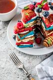 Идея завтрака Дня независимости с блинчиками Стоковые Фотографии RF