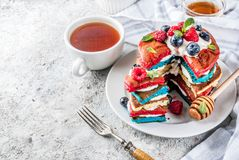 Идея завтрака Дня независимости с блинчиками Стоковое фото RF