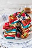 Идея завтрака Дня независимости с блинчиками Стоковое Фото