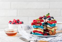 Идея завтрака Дня независимости с блинчиками Стоковые Изображения RF