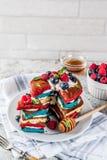 Идея завтрака Дня независимости с блинчиками Стоковое Изображение RF
