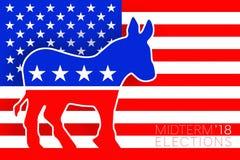 Идея иллюстрации для голосования Демократ на избрания 2018 США происходящие в середине семестра экзамены иллюстрация вектора