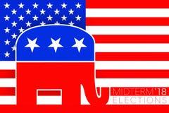 Идея иллюстрации для республиканского голосования на избрания 2018 США происходящие в середине семестра экзамены иллюстрация вектора
