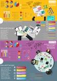 Идея и концепция взгляд сверху рабочего места дела современные Vector шаблон Infographic иллюстрации с диаграммой, значком Стоковое Фото