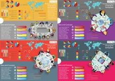 Идея и концепция взгляд сверху рабочего места дела современные Vector шаблон Infographic иллюстрации с диаграммой, значком Стоковая Фотография RF