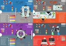 Идея и концепция взгляд сверху рабочего места дела современные Vector шаблон Infographic иллюстрации с диаграммой, значком Стоковые Фотографии RF