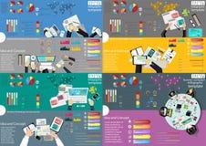 Идея и концепция взгляд сверху рабочего места дела современные Vector шаблон Infographic иллюстрации с диаграммой, значком Стоковая Фотография