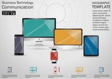 Идея и концепция современного дизайна связи технологии дела Vector шаблон Infographic иллюстрации с вахтой, компьютером, Ce стоковые изображения rf