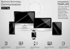 Идея и концепция современного дизайна связи технологии дела Vector шаблон Infographic иллюстрации с вахтой, компьютером, Ce стоковое изображение