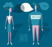 Идея проекта иллюстрации вектора плоская Человек и женщина говоря друг к другу через пузыри речи диалога Обсуждать новости, иллюстрация штока