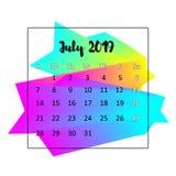Идея проекта 2019 календаря Июль 2019 иллюстрация вектора