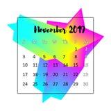 Идея проекта 2019 календаря Ноябрь 2019 иллюстрация вектора