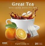Идея проекта чая упаковывая Чай с апельсином и сахаром стоковое изображение