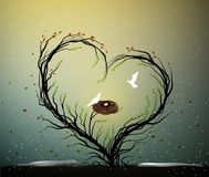 Идея родного дома, волшебное дерево влюбленности весны, дерево с сердцем с гнездом и 2 белых птицы внутрь, сладостный дом, совмес бесплатная иллюстрация