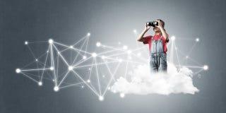 Идея связи интернета детей или онлайн играть и PA Стоковое фото RF