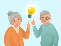 Идея старшиев Старые люди пар имеют идею, пожилой старший думая вопрос Вектор мультфильма деда и бабушки бесплатная иллюстрация