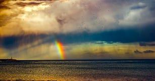 Идите дождь с радугой и seaguls на море Стоковое Фото