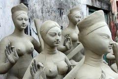 Идолы глины богини Saraswati в буераках стоковые изображения rf