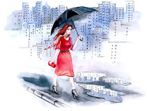 идти дождь города бесплатная иллюстрация