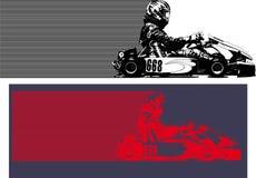 идут гонки kart иллюстрация вектора