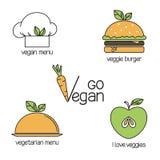 Идут установленные значки Vegan схематические Стоковое фото RF
