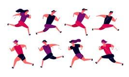 Идущая группа людей в движении Jogging тренировка женщин людей внешняя бесплатная иллюстрация