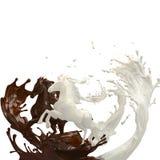 Идущие жидкостные лошади с кофе и сливк бесплатная иллюстрация
