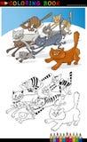 Идущие коты для книги или страницы расцветки Стоковые Изображения RF
