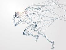 Идущий человек, сетевое подключение повернул в иллюстрация вектора