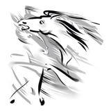 2 идущих лошади, серый цвет и белизны Стоковая Фотография