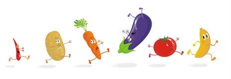 6 идущих Vegetable шаржей бесплатная иллюстрация