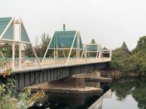 Идя мост через реку стоковое фото