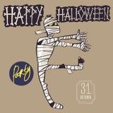 Идя мумия, счастливый хеллоуин Покрасьте тематическую иллюстрацию соответствующий для поздравительных открыток, рогулек, плакатов бесплатная иллюстрация