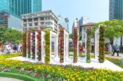 Идя Новый Год утра улицы лунный в центре города при цветки украшенные вдоль улицы Стоковое Изображение RF