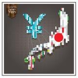 Иены денег дела тратя пунктирные линии Японии карта серый b Стоковое Изображение RF