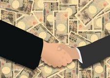 иены рукопожатия японские Стоковое Фото