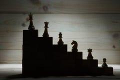 Иерархия дела Концепция стратегии с шахматными фигурами стоковые изображения rf