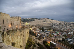 Иерусалим над заходом солнца Стоковое Фото