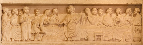 Иерусалим - замужество на сбросе Cana в евангелистской церков лютеранина восхождения стоковое фото rf